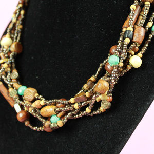 Multi-Chain Brown and Teal Beaded Necklace